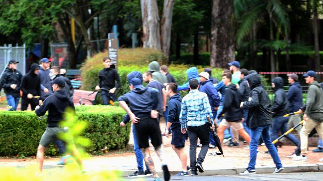 Rival groups collide in a normally peaceful park in Surry Hills.