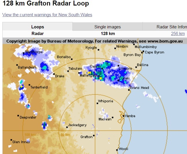 Showers are predicted to move north towards Lismore.