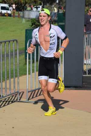 Olympic triathlete Ryan Fisher was too strong for the rest of the field in the bcu Coffs tri, setting a new race record. 5 March 2017 triathlon Photo: Brad Greenshields/Coffs Coast Advocate