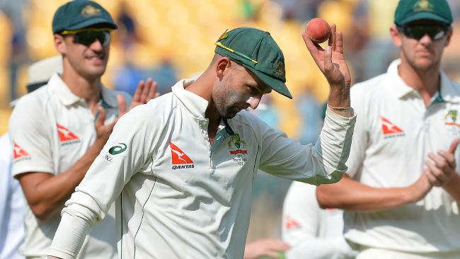 Nathan Lyon was the star of the show on day one in Bangalore.