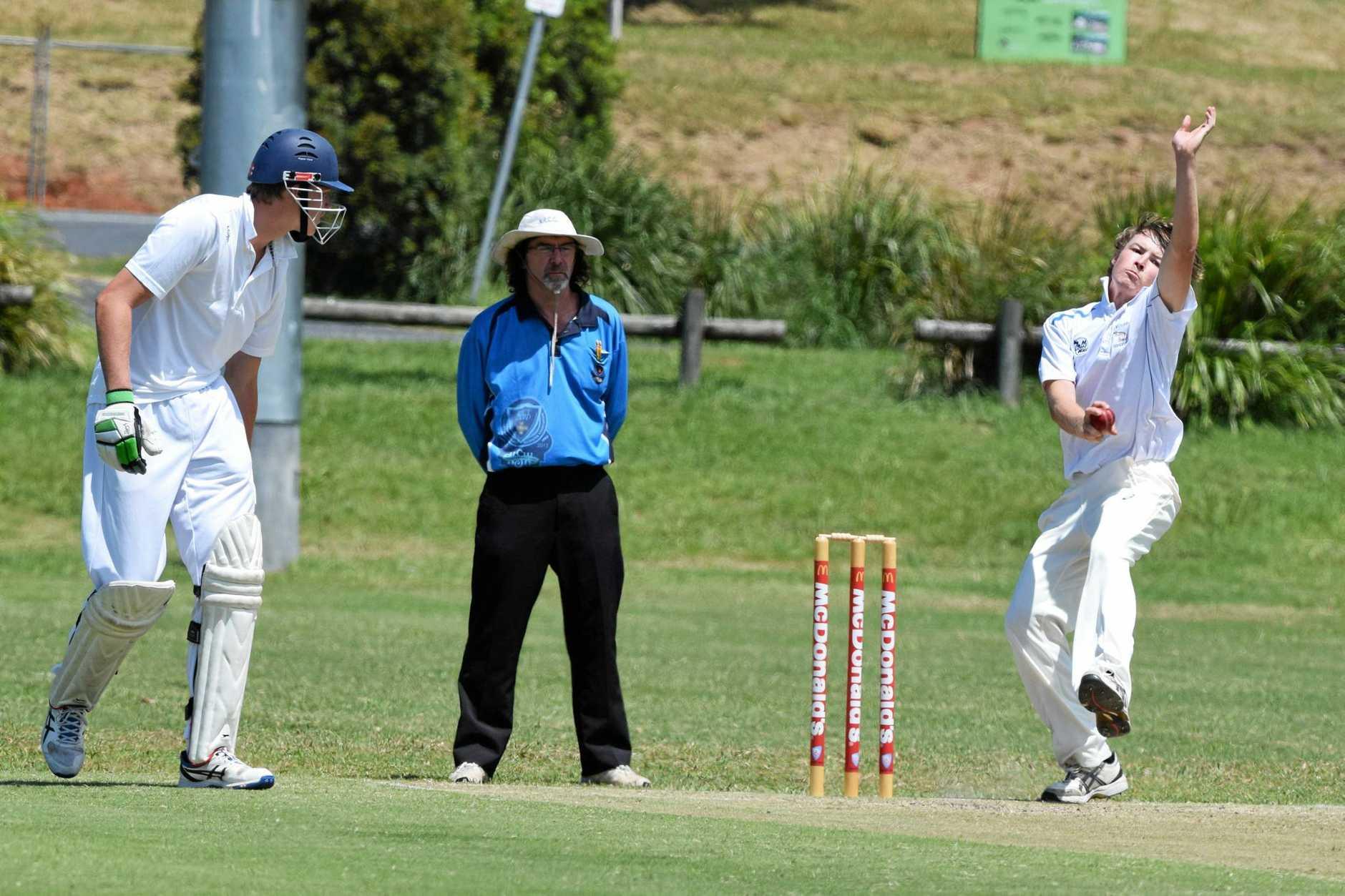 QUICK WEAPON: Nana Glen bowler Josh Bartlett on his way to a second innings five-wicket haul against Dorrigo last week.