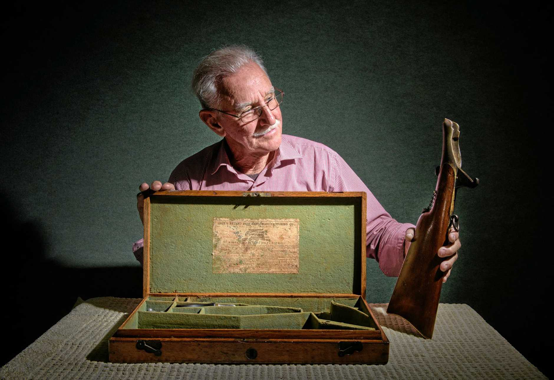 Bryan McGuren, is offering a $2000 reward for the return of his family's antique pistol missing from Schaeffer House.