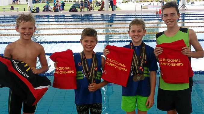 FOUR-STAR: Kayden Gibson, Wade Harris, Tom Staines and Caleb O'Mealley were all brilliant in the pool.
