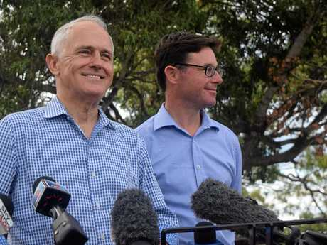 BELL SHOW: Prime Minster Malcolm Turnbull and LNP Member for Maranoa David Littleproud addressing the crowd.