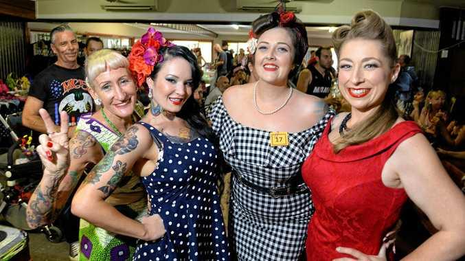 Lorraine Boss, Erin Oostenbroek, Lulu Divine and Melissa Kay  at the Peak Pub Show n Shine on Saturday.