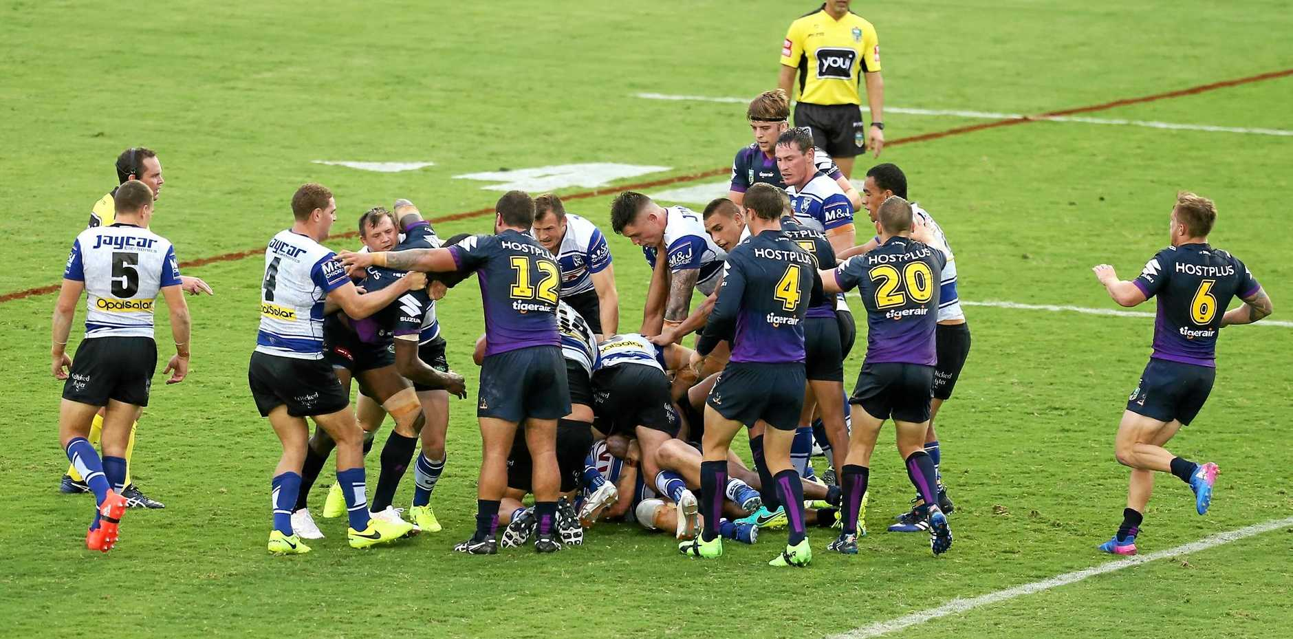 ALL IN: Bulldog Sam Kasiano and the Storm's Will Chambers were sent to the sinbin after this brawl during Friday night's game in Sydney.
