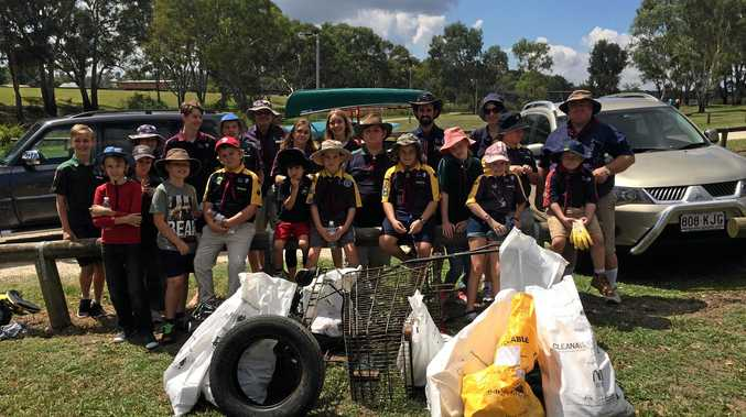 The Glennie Heights Scout Group after a successful Clean Up Australia Day campaign.
