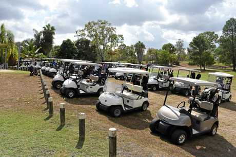 Golf carts as far as the eye can see. Calliope Country Club.