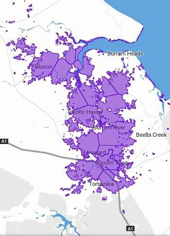 Map showing NBN fixed wireless availability around Burrum Heads, Pacific Haven, Howard and Torbanlea.