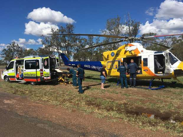 RACQ LifeFlight airlifts a man in his late 60s after numerous wasp stings.