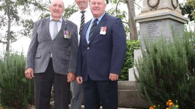 IN HONOUR: Member for Clarence Chris Gulaptis is pictured welcoming the grant for the relocation of the cenotaph with South Grafton RSL Sub-Branch members, Bob Hayes and Alan Ryall.