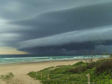 Megs Burgess snapped the photo of an awesome storm front coming across Yamba on Sunday afternoon.