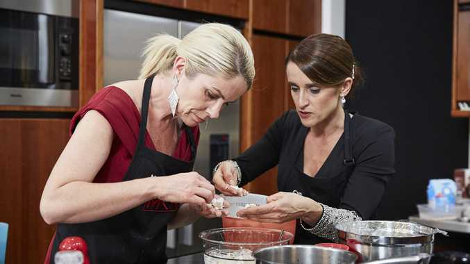 Mell and Cyn pictured during their instant restaurant in a scene from My Kitchen Rules.