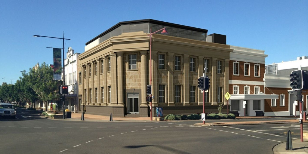Plans and artist impressions for The Bank development in the Toowoomba CBD.