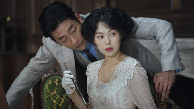 Min-hee Kim and Jung-woo Ha in a scene from the movie The Handmaiden.