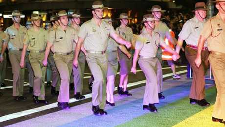 Defence members marching in the Sydney Mardi Gras parade.