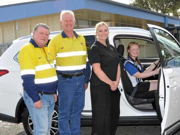 ON THE ROAD: (From left) CS Energy chair Jim Soorley, Callide Power Station GM Roy Powell and JBOYS founder Barbara Bryant-Dunshea with Biloela State High School captain Gabrielle Byrne.