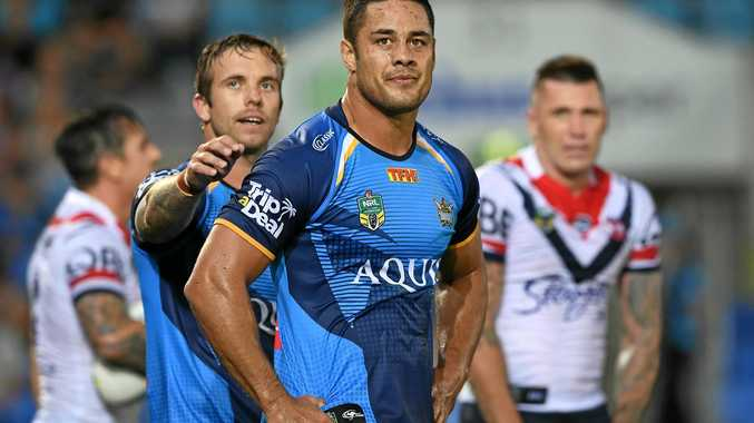 Titans player Jarryd Hayne (centre) looks on during the Round 1 NRL match between the Gold Coast Titans and the Sydney Roosters at Cbus Super Stadium in Robina