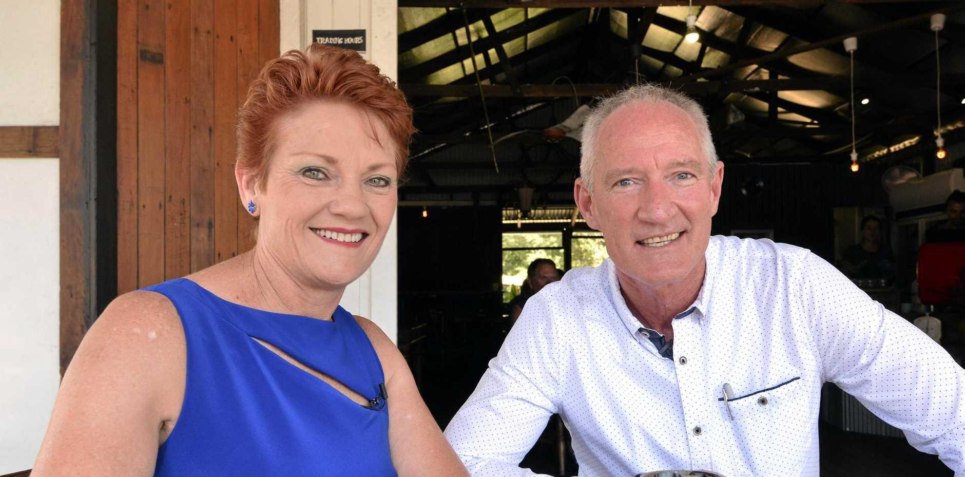 CHALLENGE: Pauline Hanson's One Nation Party leader Senator Pauline Hanson with state leader Steve Dickson, Buderim MP.
