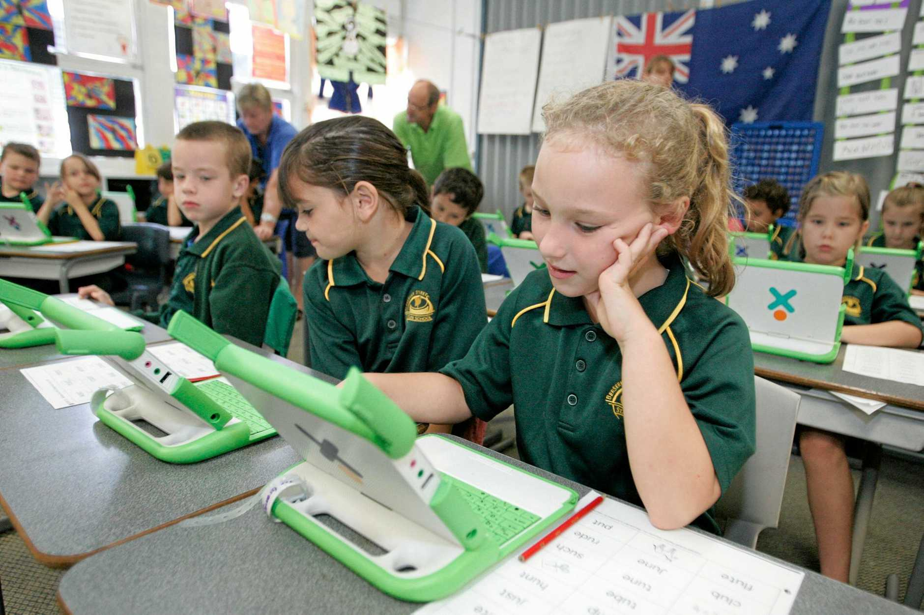 Berserker State School student Zoe Granger using one of the school's XO computers which have been provided to every student in the school.   Photo: Chris Ison / The Morning Bulletin