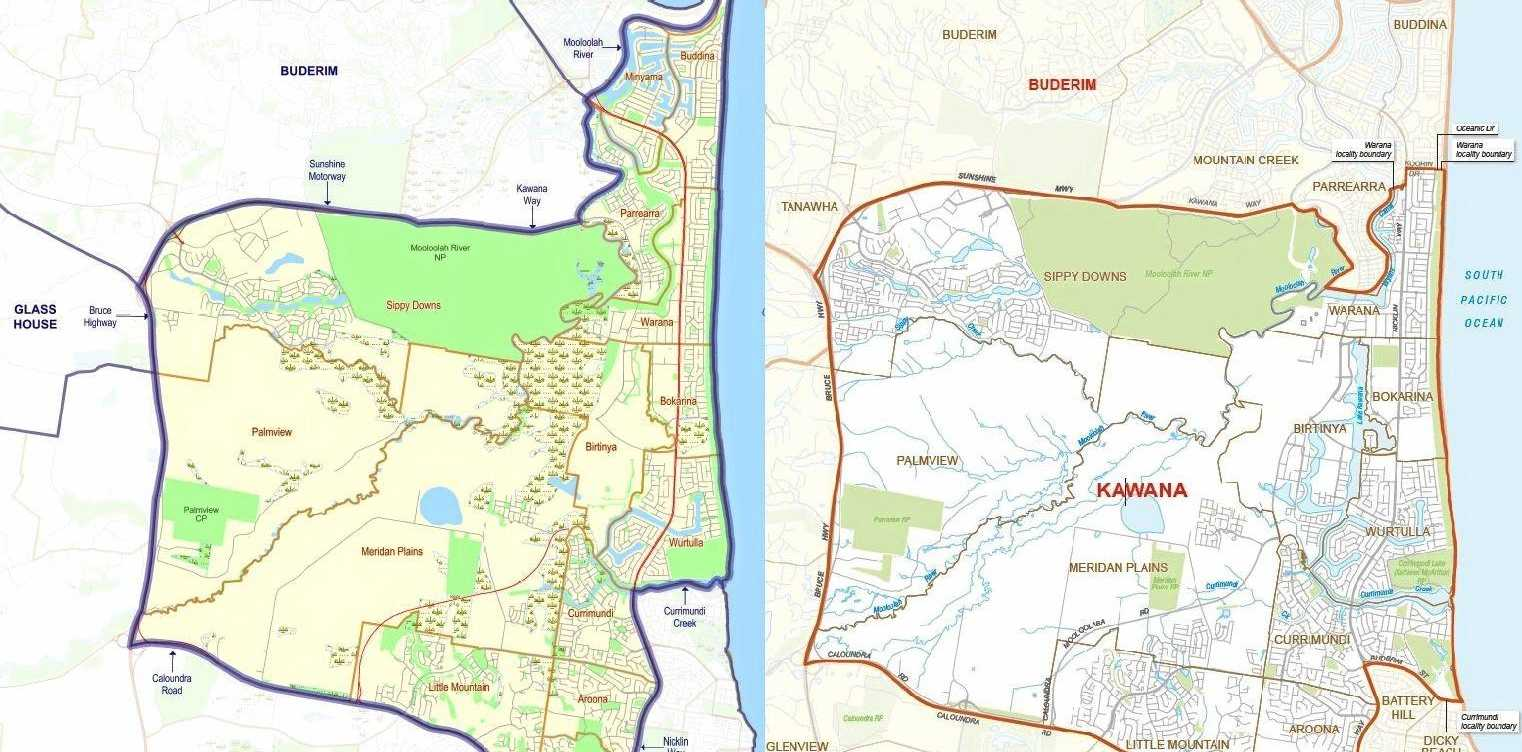 LEFT: The current Kawana electorate boundaries. RIGHT: The proposed changes to the Kawana electorate.