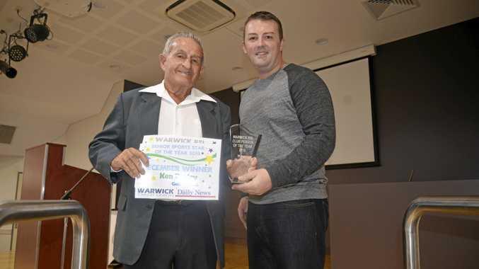 2015 AWARD: Warwick golfer Ken Burley with RSL committee member Ryan Harmer after winning the Warwick RSL Memorial Club