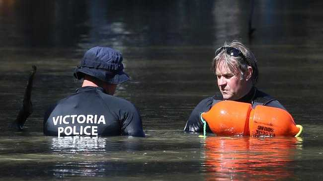 Police located her five-year-old son's body in the river at Moama on Saturday morning after searching for him since he went missing on Thursday evening. Picture: Hamish Blair