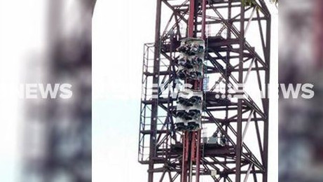 Passengers are reportedly stuck on the Buzzsaw ride at Dreamworld on the Gold Coast. Picture: 9 News Gold Coast QLD News