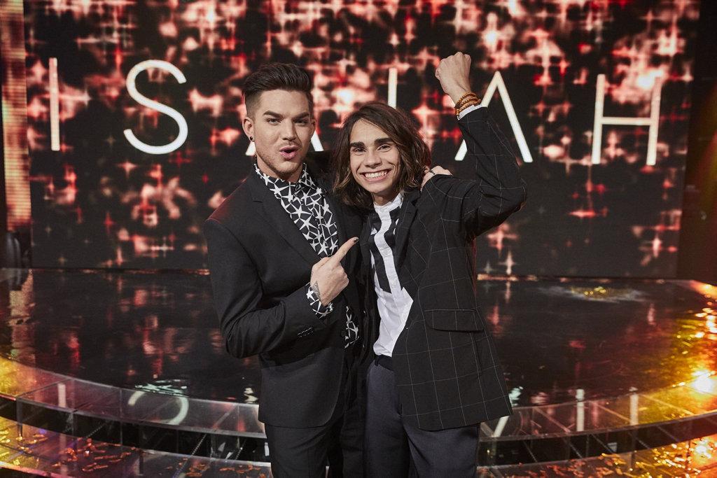 The X Factor winner Isaiah Firebrace with his mentor Adam Lambert.
