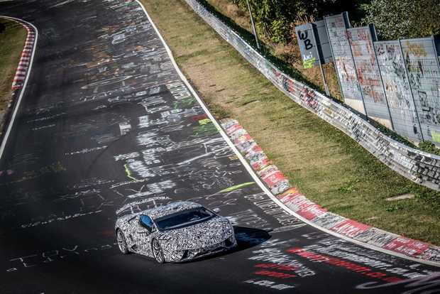 Lamborghini Huracan Performante breakes the production car lap record at the Nurburgring Nordschleife.