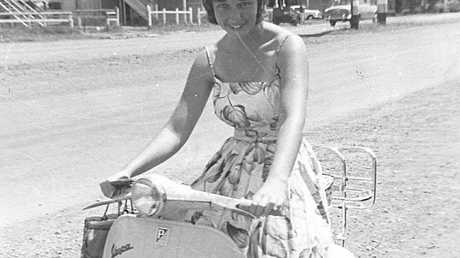 Mima learning to drive at age 17.