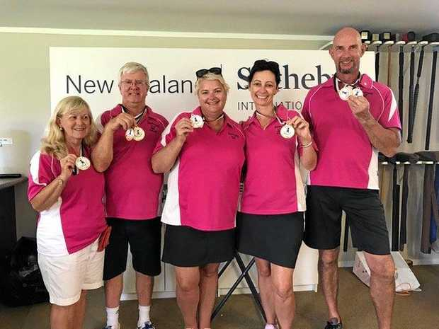 Redcliffe Roses placed second in the New Zealand International Teams Gateball Championships. Pictured are Jennifer and Geoff Morris, Niki Hotmer, Nikki Stuart and Curt Hotmer. Photo: contributed