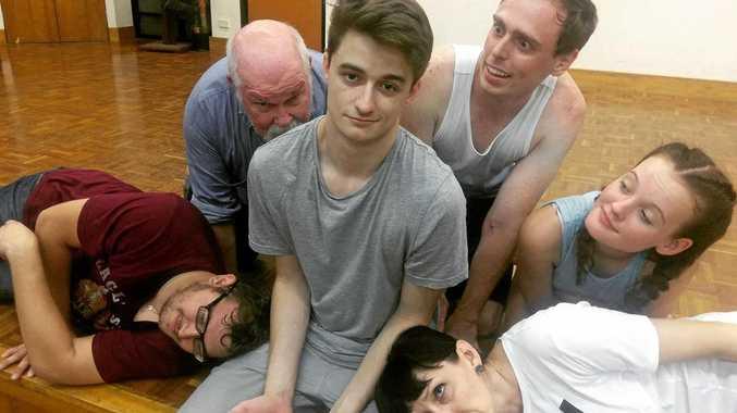 REHEARSING: Gordon Lowe (Nick), Jim Kelly (Henry), Kyle Nozza (Roy), Taylah Verri (Julie), Vicky Bobeldyk (Ruth), in the centre Tom Dray (Lewis) in Cosi.