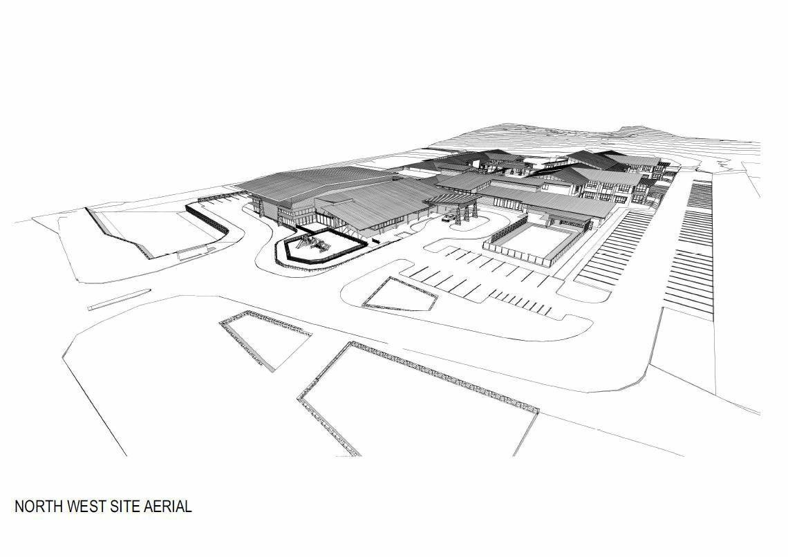 An aerial view of the campus master plan.