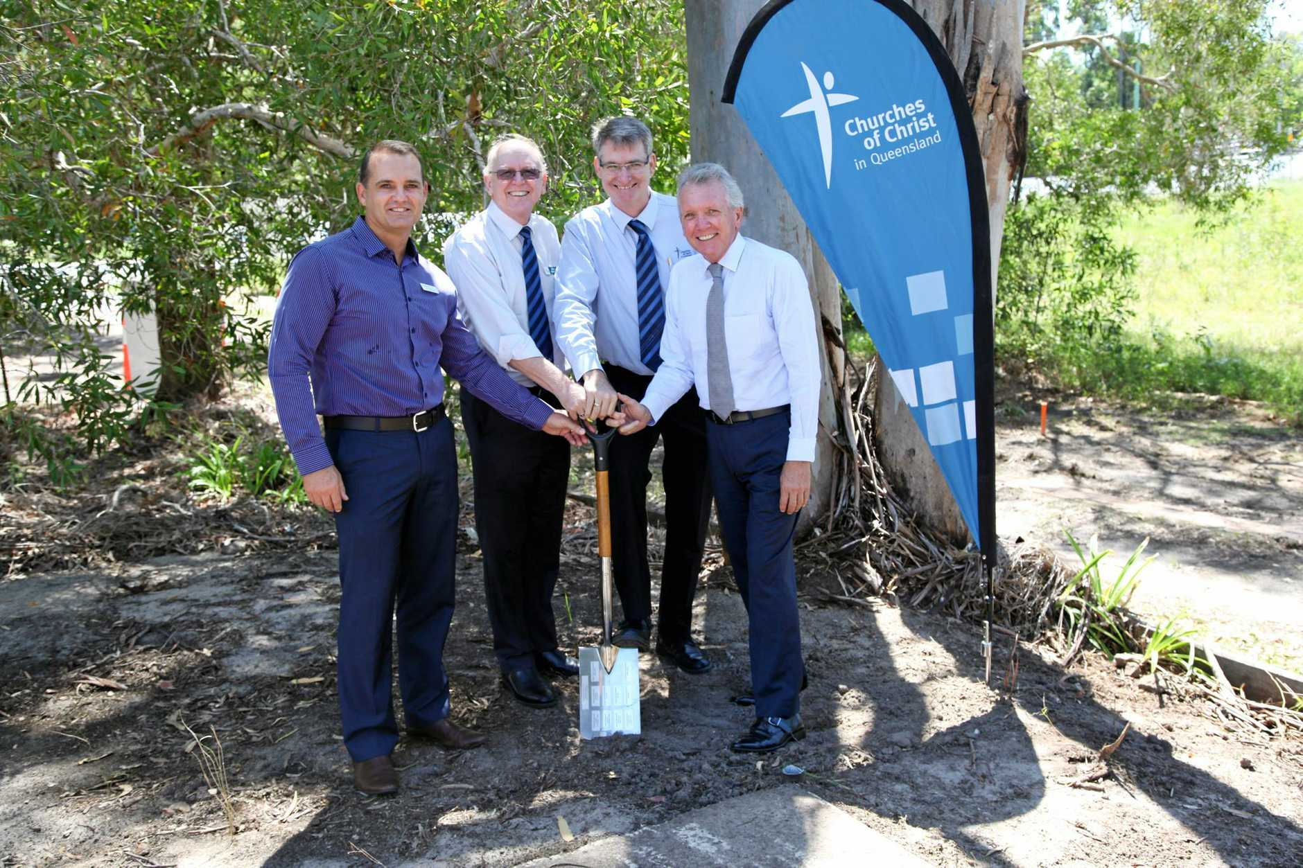 Councillor Peter Cox, Churches of Christ in Queensland chief mission development officer Gerry Weatherall, acting chief executive officer  David Swain, and Caloundra MP Mark McArdle.
