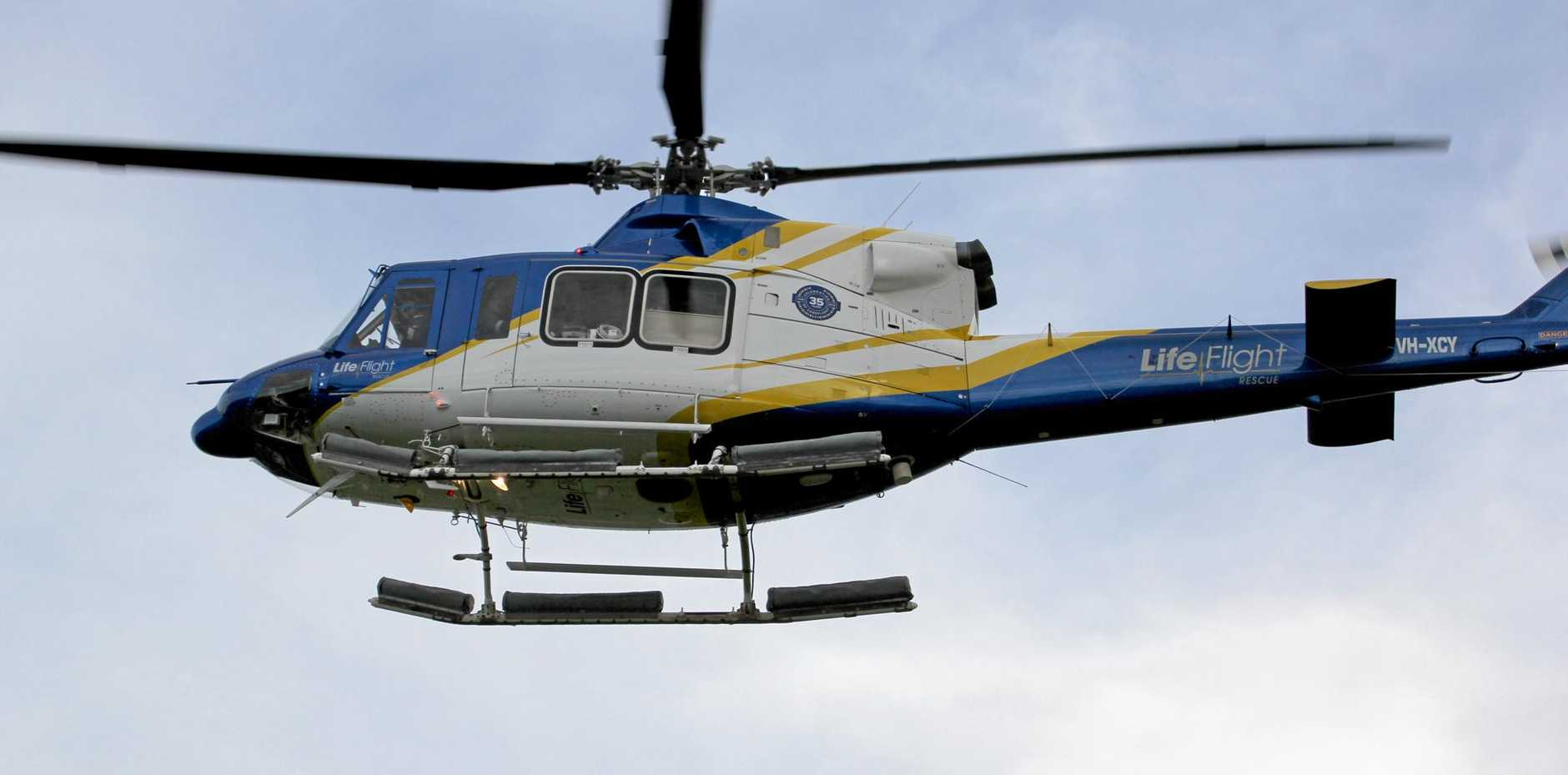 AIRLIFT: A man has been airlifted from Bauple after emergency treatment for a suspected taipan bite.
