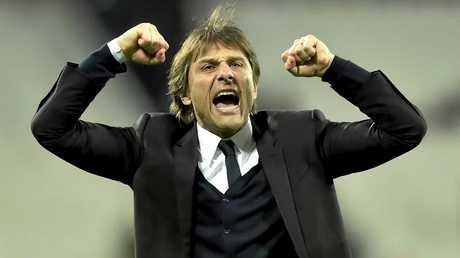 Antonio Conte celebrates his team's win  at the London Stadium