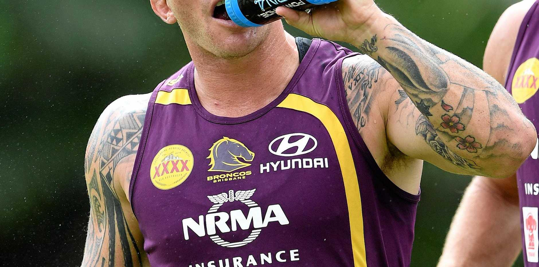 Josh McGuire during a Brisbane Bronco training session at Red Hill.