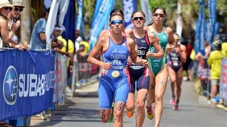 Mooloolaba Triathlon Festival, ITU Triathlon World Cup Elite Women's race, March 14, 2015:  Photo Patrick Woods / Sunshine Coast Daily