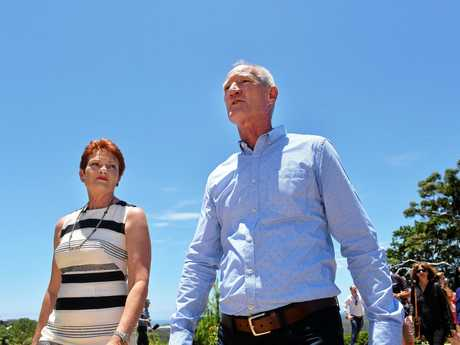 One Nation leader Pauline Hanson with Queensland leader Steve Dickson on the Sunshine Coast earlier this year.