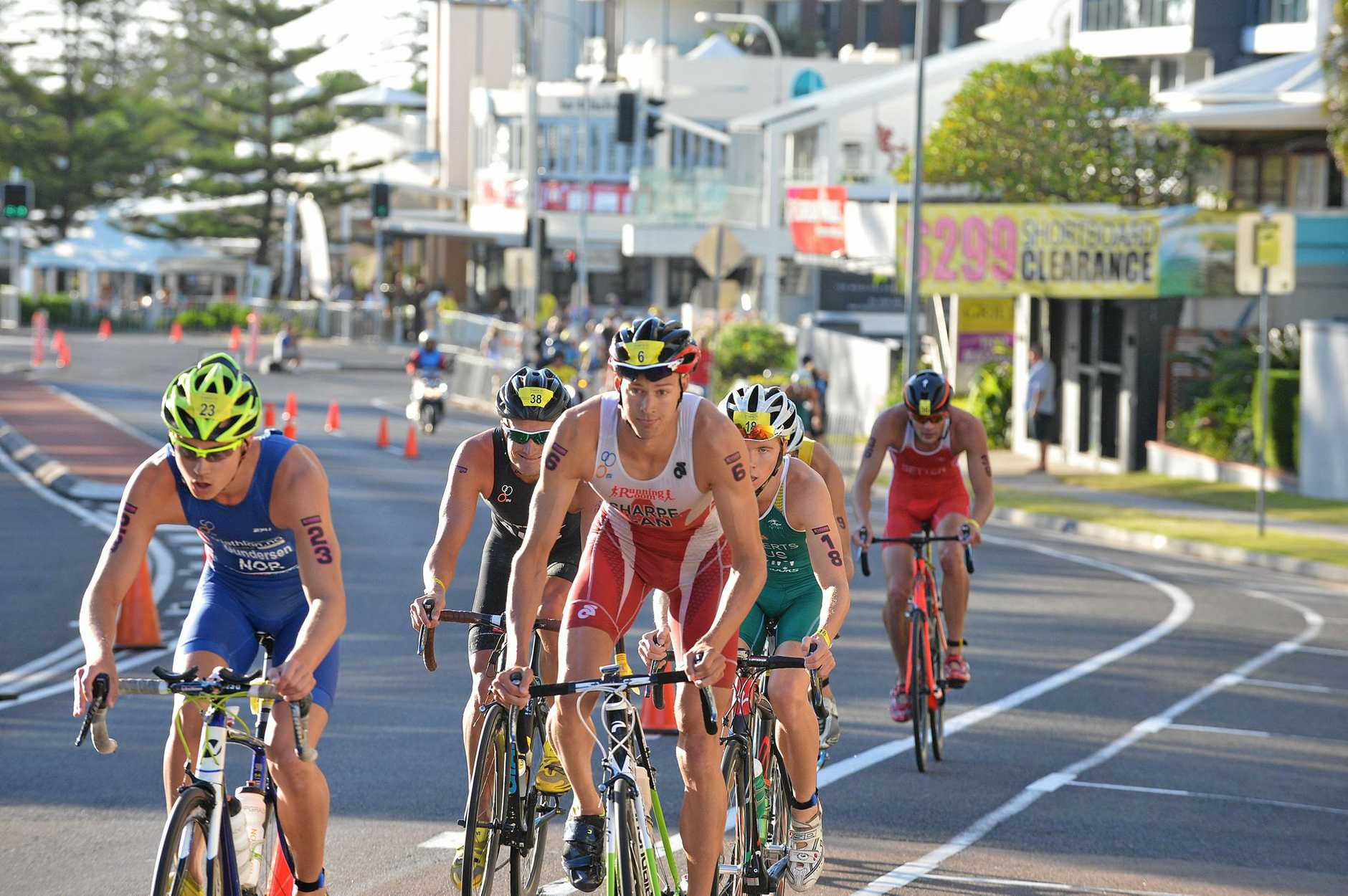 ACTION: Competitors at the 2015 Mooloolaba Triathlon Festival.
