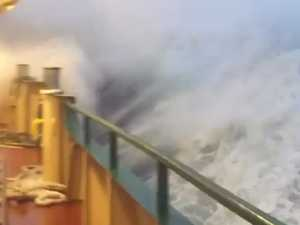 Manly Ferry battles big waves