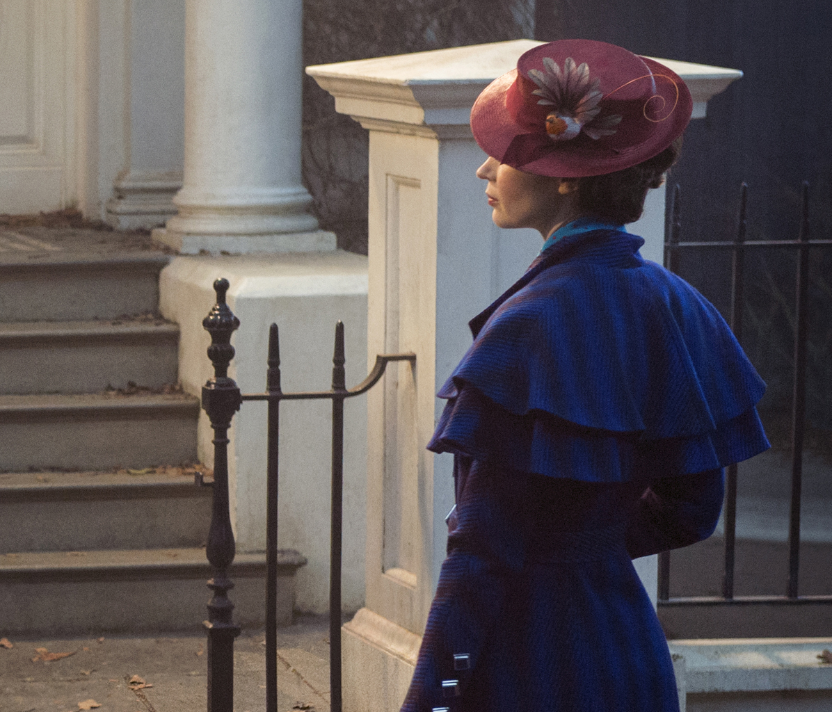 Emily Blunt pictured in the first image from the set of the movie Mary Poppins Returns.