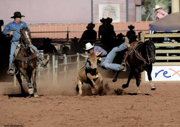 SADDLE UP: Caboolture rider Lachlan O'Neill is the current steer wrestling standings leader in the Australian Professional Rodeo Association.