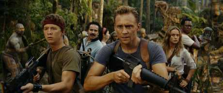 Thomas Mann, John Ortiz, Tom Hiddleston and Brie Larson in a scene from the movie Kong: Skull Island.