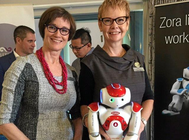Brightwater's CEO Jennifer Lawrence and  Brightwater Research Centre  manager Pippa Cebis with Alice the Zorabot.jpg