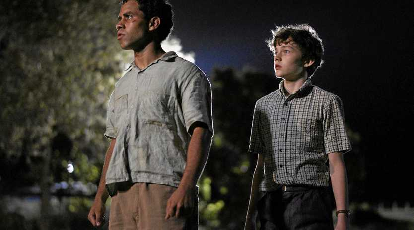 Aaron L McGrath and Levi Miller in a scene from the movie Jasper Jones.
