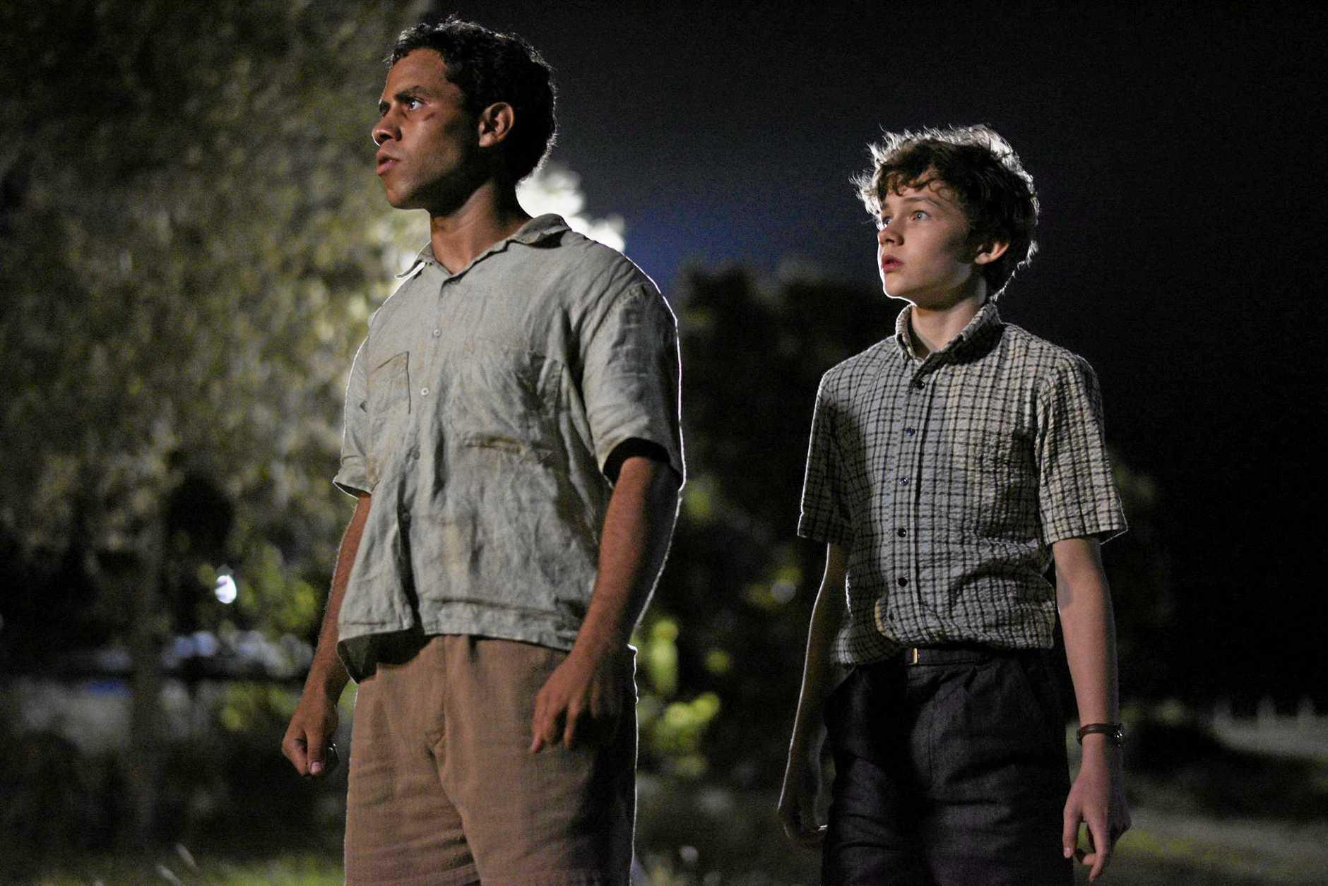 Aaron L McGrath and Levi Miller in a scene from the movie Jasper Jones.