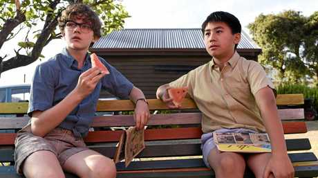 Levi Miller stars as Charlie Bucktin alongside Kevin Long as Jeffrey Lu in a scene from Jasper Jones.