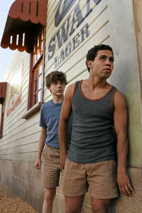 Charlie Bucktin (Levi Miller) and Jasper Jones (Aaron McGrath) seek to solve the mystery in the film Jasper Jones.